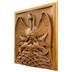 Antique Hand Carved Oak Gothic Art Panel of Feeding Pelican as Symbol of Christ