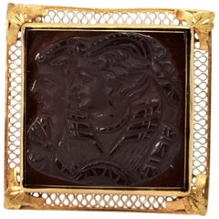 Antique Hand Carved Onyx 10 Karat Gold Cameo Brooch