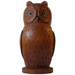 Antique Hand Carved Owl Tea Caddy German Volk Art, circa 1900, Signed
