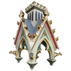 Antique Hand Carved & Painted Gothic Tower Model For Wall Hanging or Table Piece
