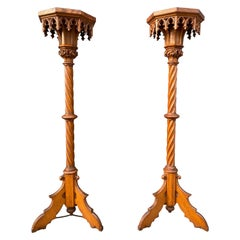 Antique Hand Carved Pair of Oak Gothic Revival Church Columns / Pedestal Stands
