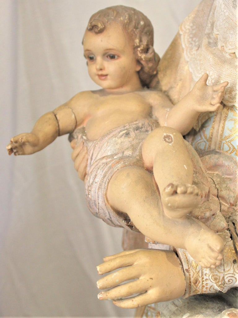Antique Hand-Carved & Polychrome Painted Sculpture of The Madonna and Child For Sale 4