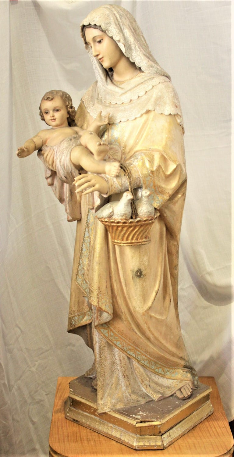 Edwardian Antique Hand-Carved & Polychrome Painted Sculpture of The Madonna and Child For Sale