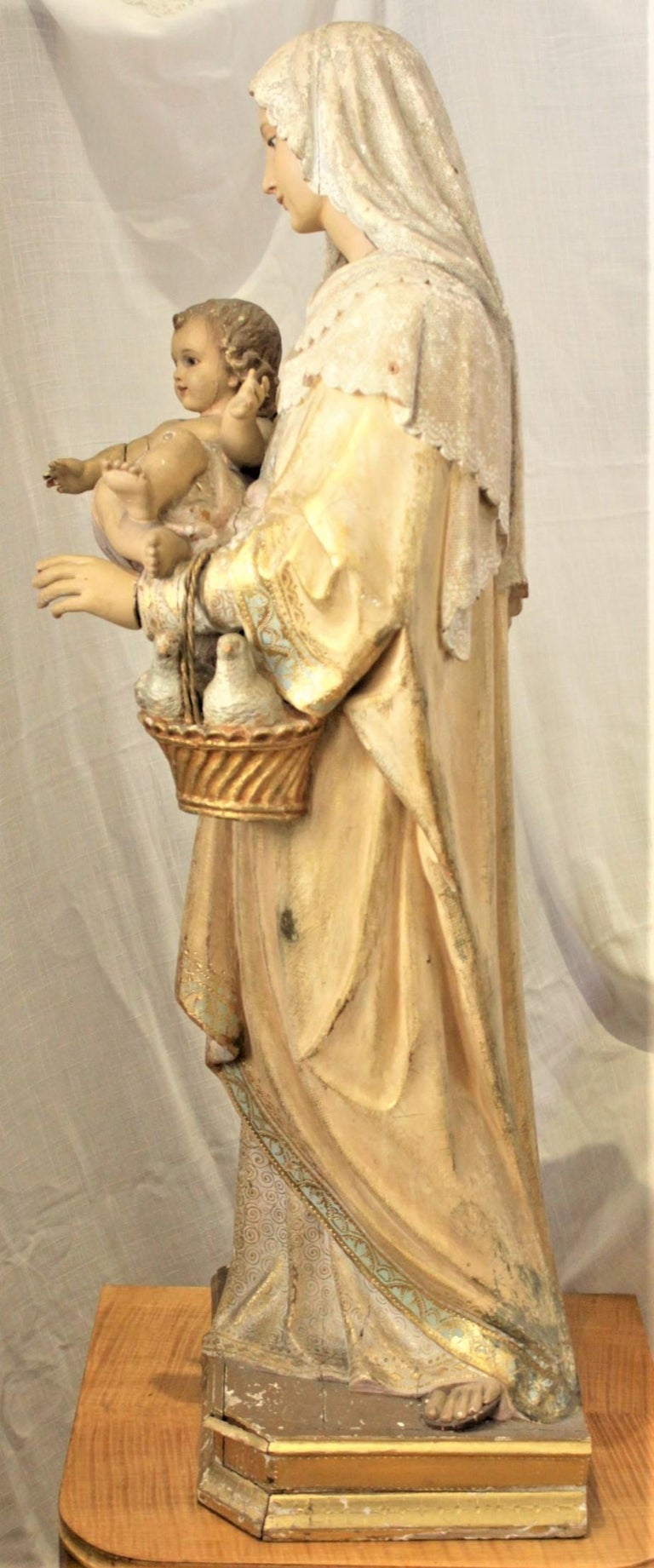 Italian Antique Hand-Carved & Polychrome Painted Sculpture of The Madonna and Child For Sale