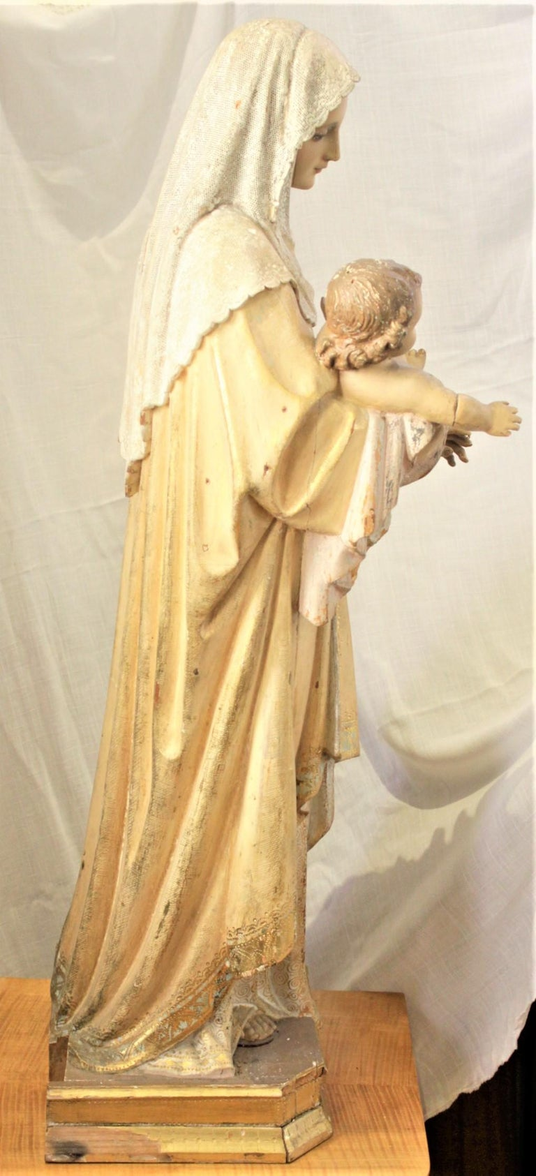 Pine Antique Hand-Carved & Polychrome Painted Sculpture of The Madonna and Child For Sale