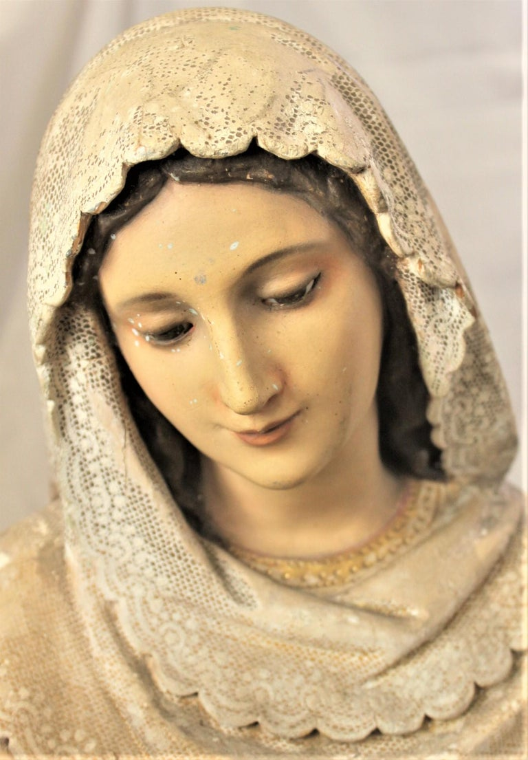 Antique Hand-Carved & Polychrome Painted Sculpture of The Madonna and Child For Sale 1