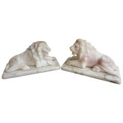 Antique Hand Carved Practical Size Pair of Alabaster Lion Sculpture Desk Pieces