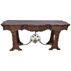 Red Marble Top Console Table Hand Carved