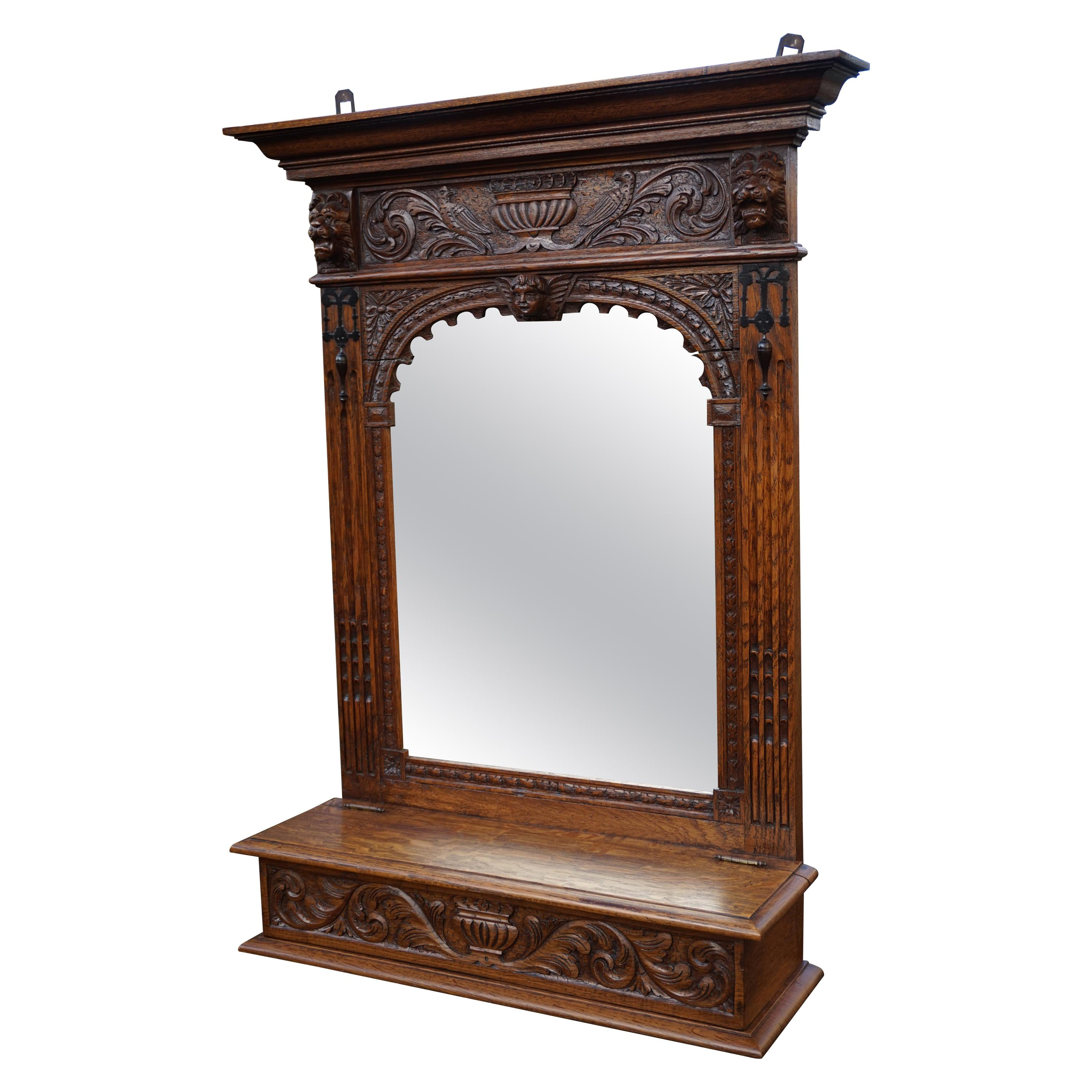 Hand Carved Renaissance Revival Wall Mirror with Lidded Gloves and Scarf Box