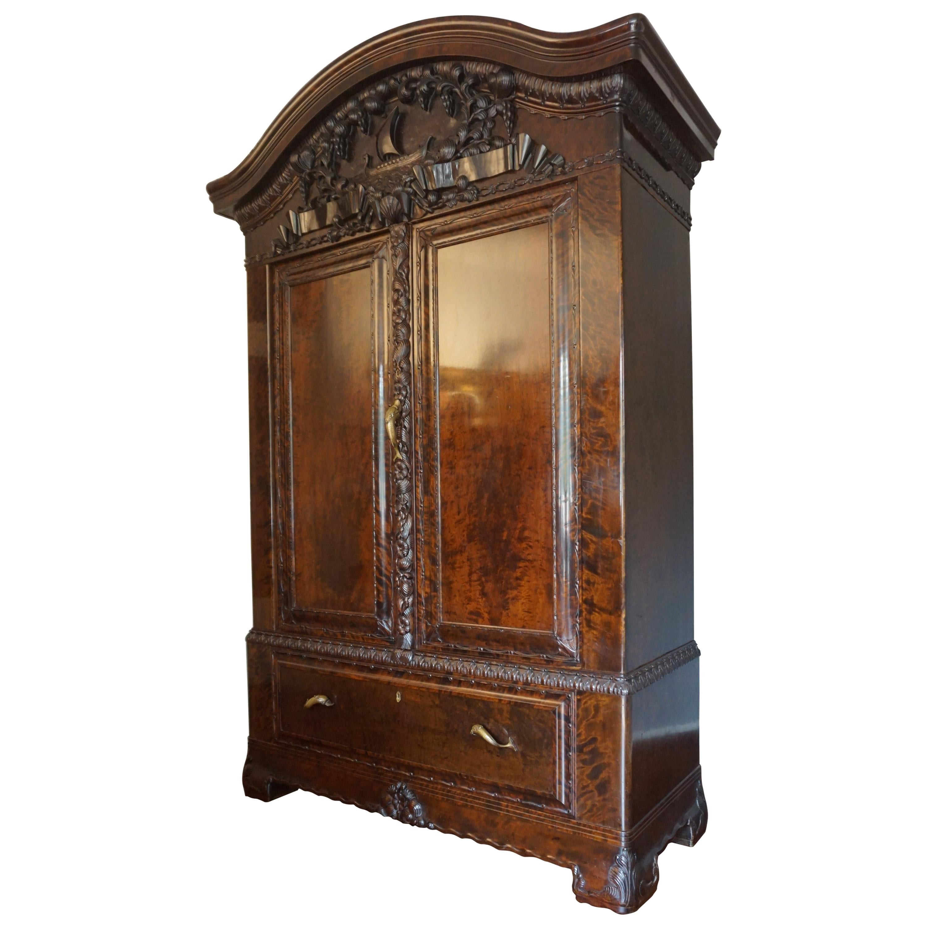 Beau Arts And Crafts Carved Oak Wall Cabinet For Sale At 1stdibs