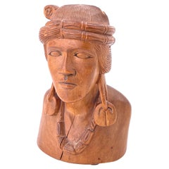 Antique Hand Carved Solid Wood American Indian Sculpture Bust