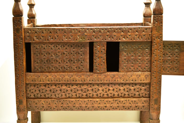 Pakistani Antique Hand-Carved Swat Chest from Pakistan For Sale