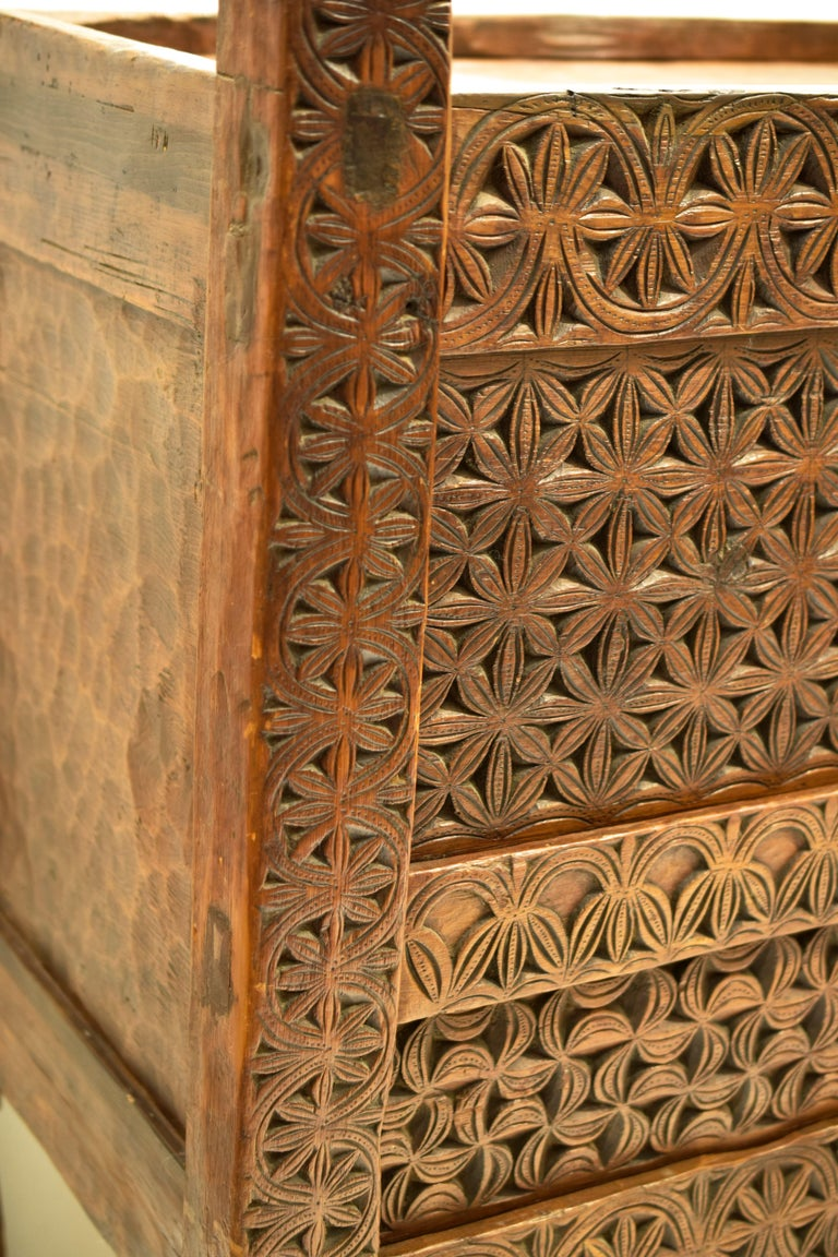 19th Century Antique Hand-Carved Swat Chest from Pakistan For Sale