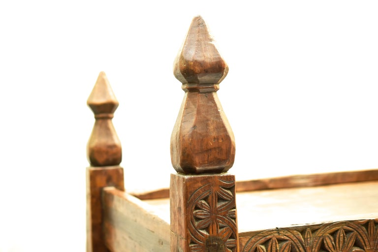 Cedar Antique Hand-Carved Swat Chest from Pakistan For Sale