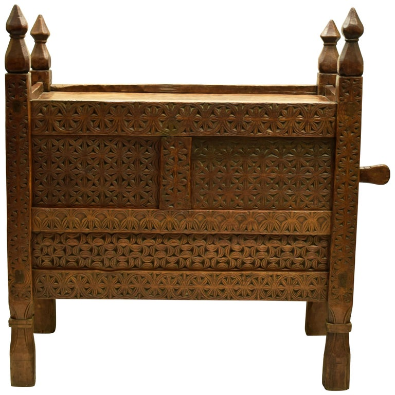 Antique Hand-Carved Swat Chest from Pakistan For Sale