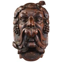 Antique Hand Carved Walnut Bacchus Head