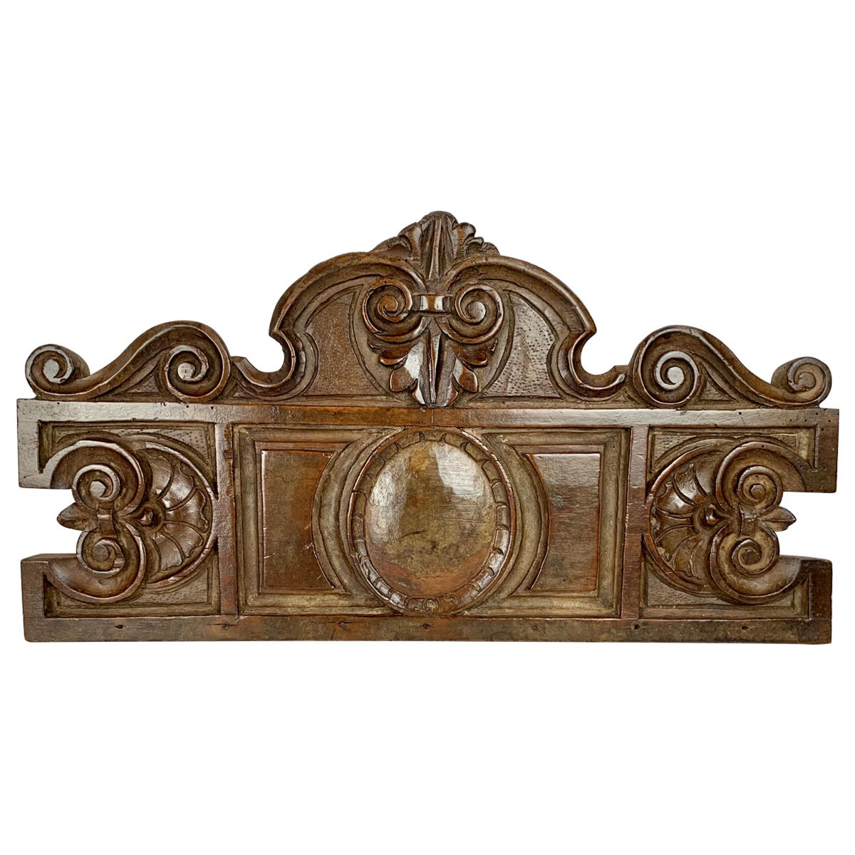 Antique American Hand Carved Walnut Panel, 19th century