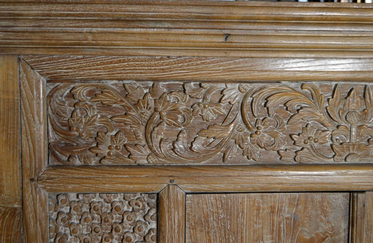 Antique Hand Carved White Washed Teak Cabinet With