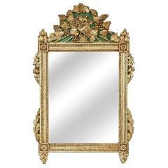 Antique Hand-Carved Wood Mirror, Original Gold Finish