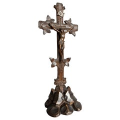 Antique Hand Carved Wooden Black Forest Crucifix with Bronzed Corpus of Christ