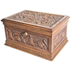 Antique Hand Carved Wooden Jewelry Casket or Box with Ornate Floral Decoration