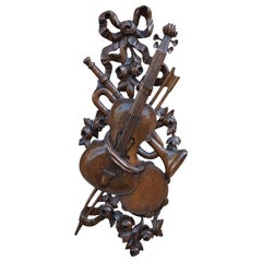 Antique Hand Carved Wooden Violin / Fiddle, Trumpet & Tambourine Wall Sculpture