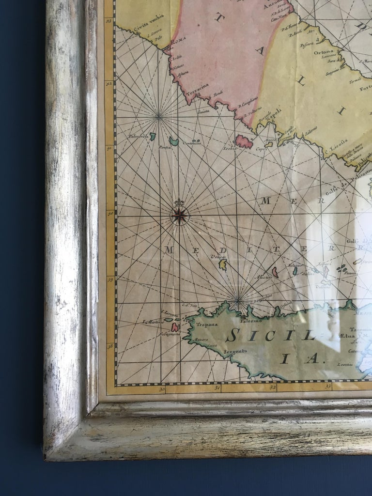 Italian Antique Hand Colored Map of Venice, Italy, Late 18th Century For Sale