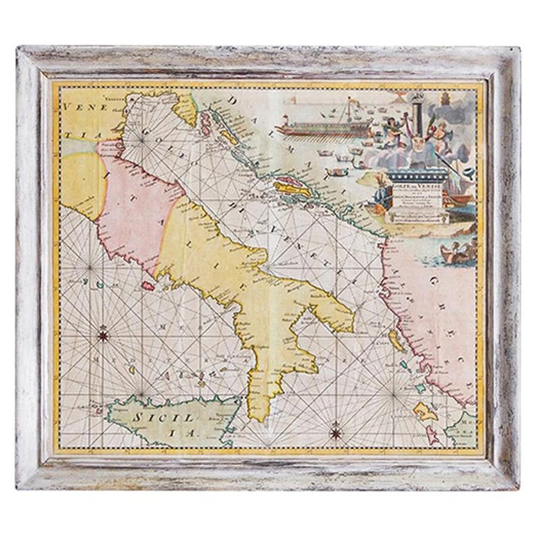 Antique Hand Colored Map of Venice, Italy, Late 18th Century For Sale