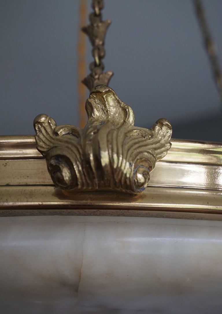 Antique Handcrafted Alabaster and Gilt Bronze Pendant Chandelier, circa 1900 For Sale 6