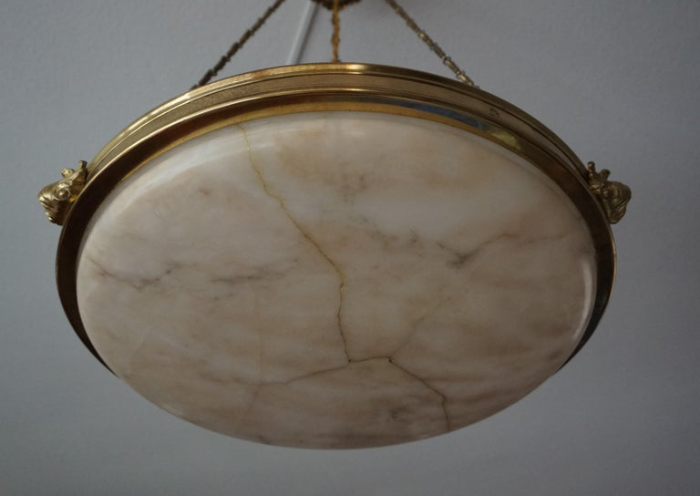 Antique Handcrafted Alabaster and Gilt Bronze Pendant Chandelier, circa 1900 For Sale 7
