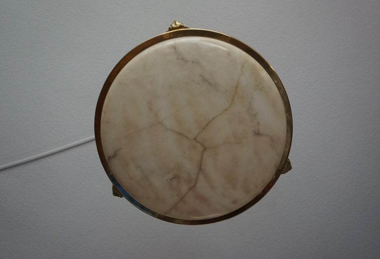 Antique Handcrafted Alabaster and Gilt Bronze Pendant Chandelier, circa 1900 For Sale 8