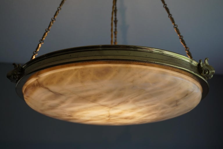 Antique Handcrafted Alabaster and Gilt Bronze Pendant Chandelier, circa 1900 For Sale 11