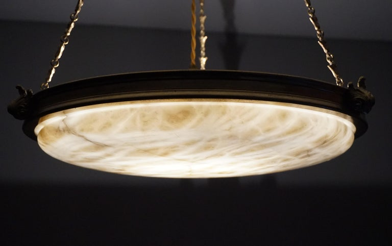 Antique Handcrafted Alabaster and Gilt Bronze Pendant Chandelier, circa 1900 For Sale 12