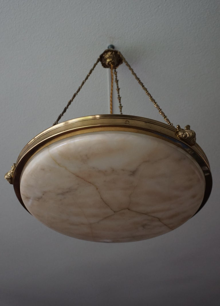 Antique Handcrafted Alabaster and Gilt Bronze Pendant Chandelier, circa 1900 For Sale 14