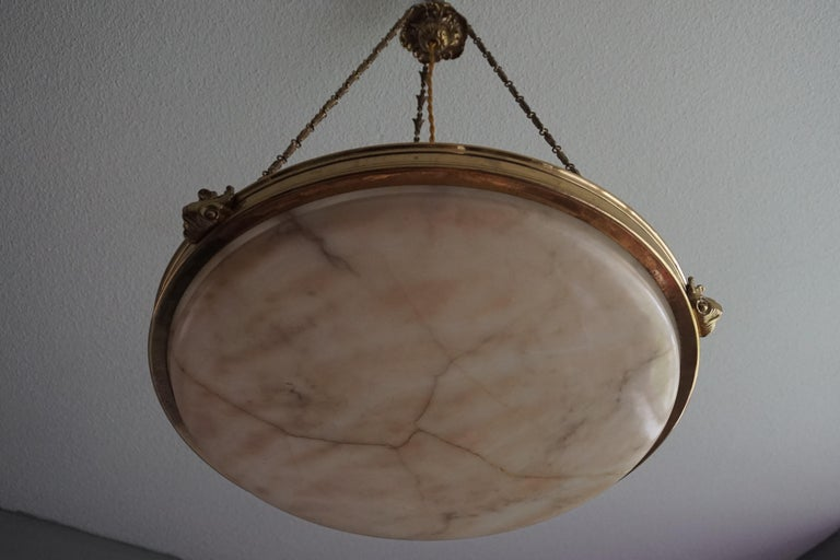 20th Century Antique Handcrafted Alabaster and Gilt Bronze Pendant Chandelier, circa 1900 For Sale