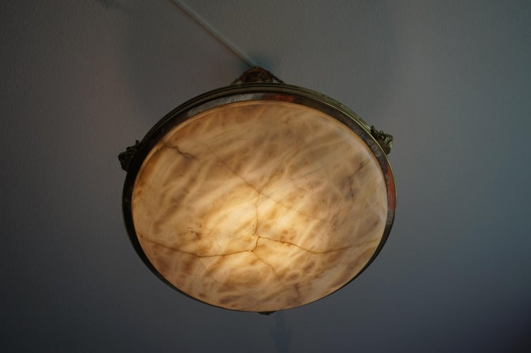 Antique Handcrafted Alabaster and Gilt Bronze Pendant Chandelier, circa 1900 For Sale 1