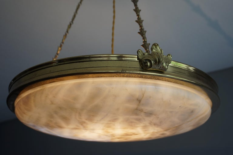 Antique Handcrafted Alabaster and Gilt Bronze Pendant Chandelier, circa 1900 For Sale 3