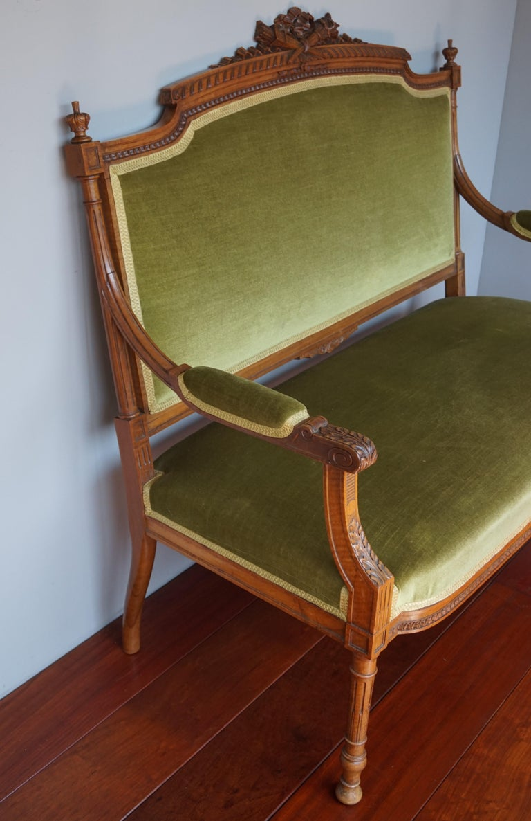 Antique Hand Crafted and Carved Nutwood Louis Seize XVI Canape / Settee / Bench For Sale 8