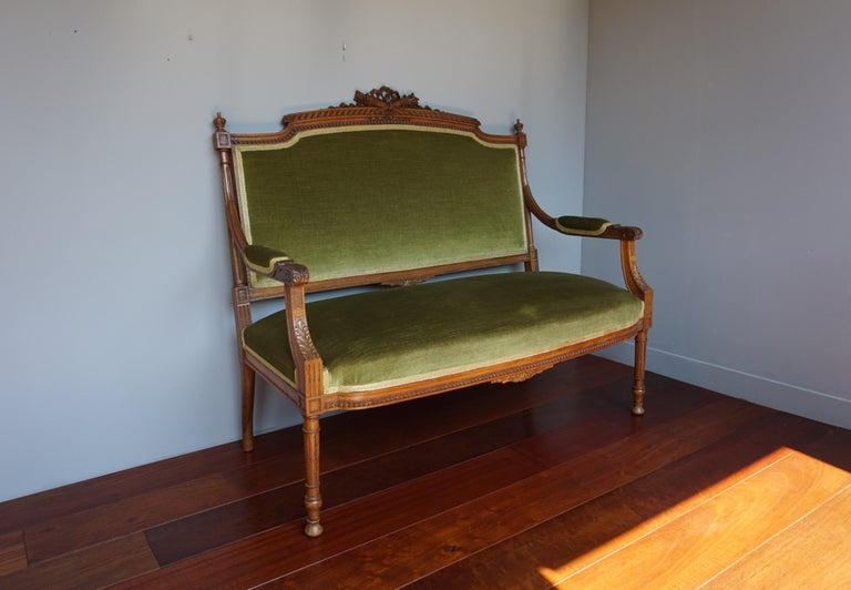 Antique Hand Crafted and Carved Nutwood Louis Seize XVI Canape / Settee / Bench For Sale 10