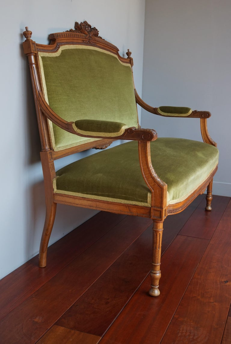 Hand carved antique work of beauty of museum quality and condition.  We have seen and sold our fair share of excellent condition, antique pieces of furniture, but for a settee that is well over 100 years old to be in this condition even amazed us.