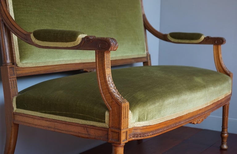 Velvet Antique Hand Crafted and Carved Nutwood Louis Seize XVI Canape / Settee / Bench For Sale