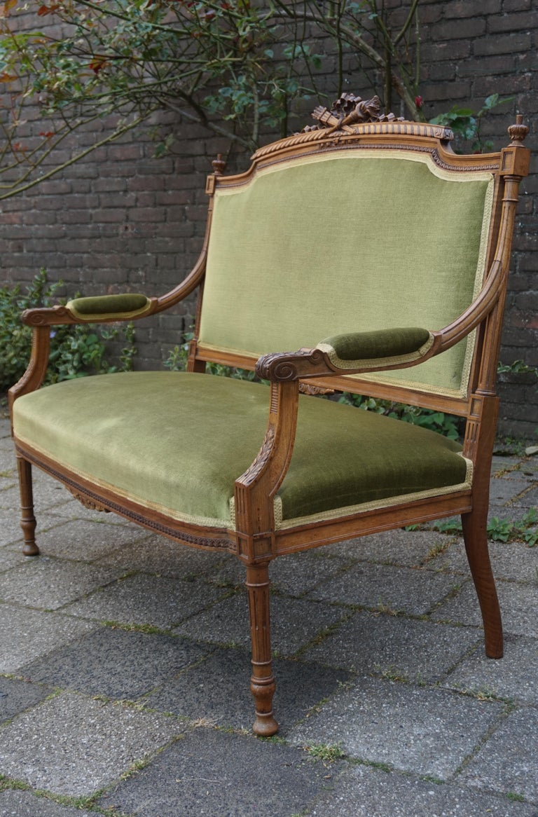 Antique Hand Crafted and Carved Nutwood Louis Seize XVI Canape / Settee / Bench For Sale 9