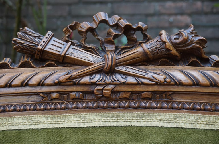 European Antique Hand Crafted and Carved Nutwood Louis Seize XVI Canape / Settee / Bench For Sale