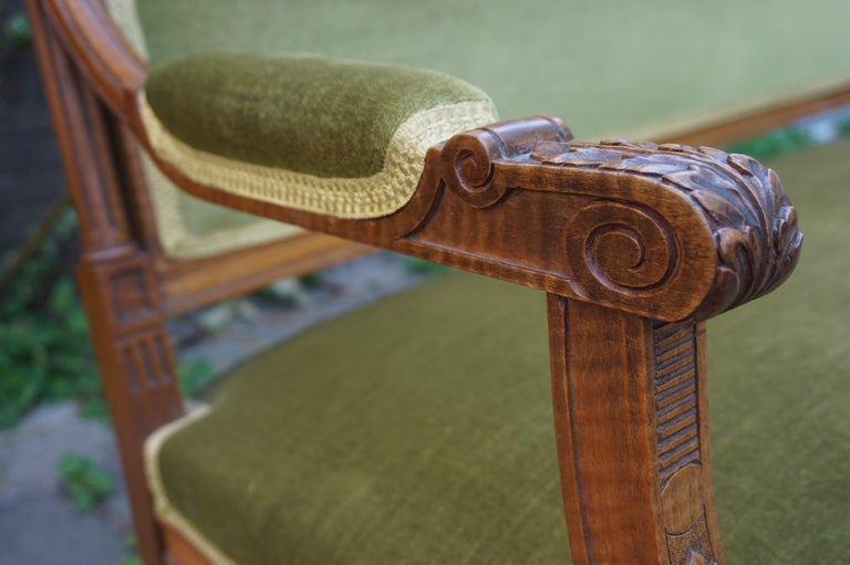 Antique Hand Crafted and Carved Nutwood Louis Seize XVI Canape / Settee / Bench For Sale 1