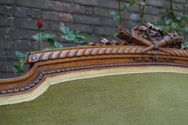 20th Century Antique Hand Crafted and Carved Nutwood Louis Seize XVI Canape / Settee / Bench For Sale