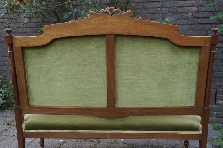 Antique Hand Crafted and Carved Nutwood Louis Seize XVI Canape / Settee / Bench For Sale 4
