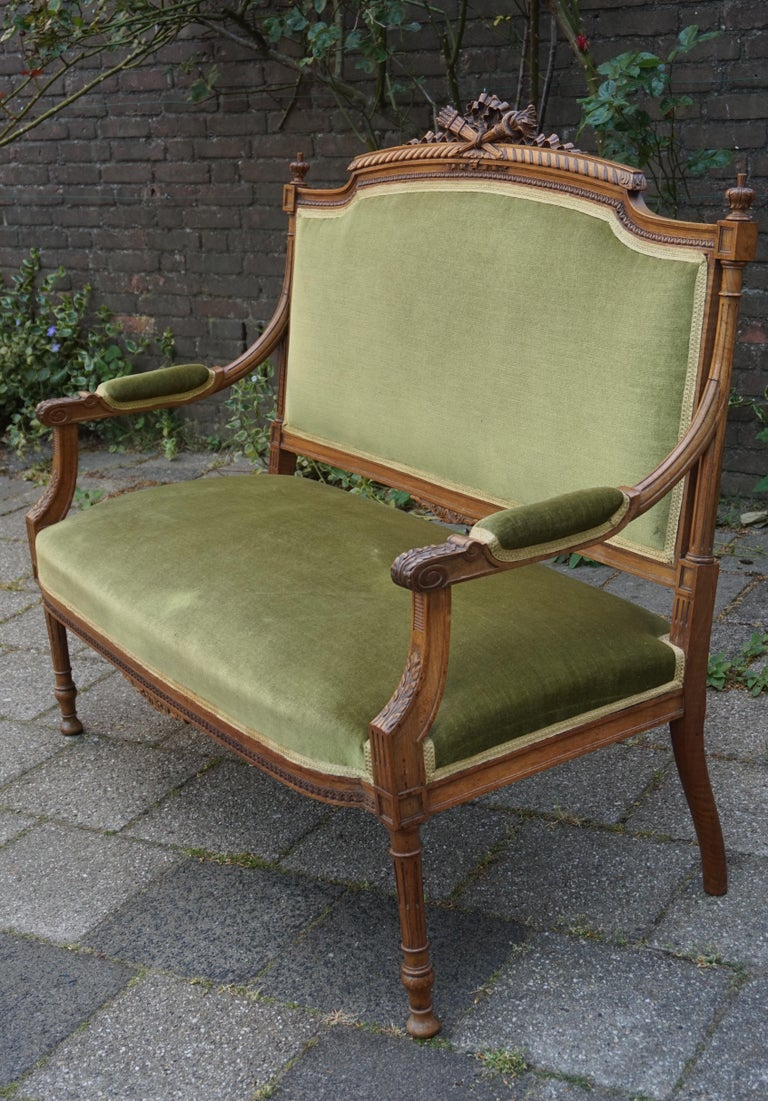 Antique Hand Crafted and Carved Nutwood Louis Seize XVI Canape / Settee / Bench For Sale 5