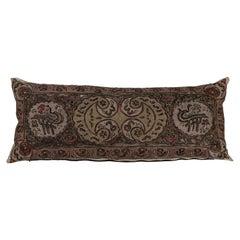 Antique Hand Crewel Stitched Linen Panel Custom Made Pillow