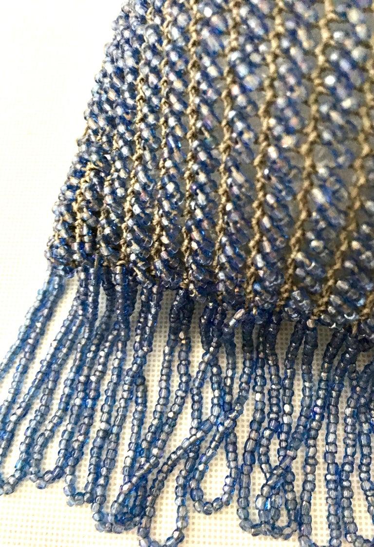 Antique Hand Cut Art Glass Bead Crochet Drawsting Evening Bag For Sale 6