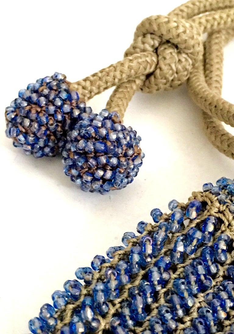 Antique Hand Cut Art Glass Bead Crochet Drawsting Evening Bag For Sale 7
